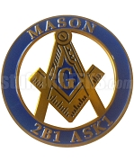 Mason Round Crest Car Emblem with Square and Compass