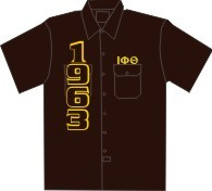 1963/Iota Phi Theta Dickies Shirt, Brown - EMBROIDERED With Lifetime Guarantee