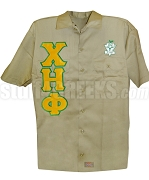 Chi Eta Phi Greek Letter Dickies Shirt with Crest, Khaki