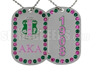 Alpha Kappa Alpha Double Sided Bling Dog Tag with Founding Year
