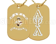 Alpha Psi Lambda Greek Letter Dog Tag with Crest, Gold