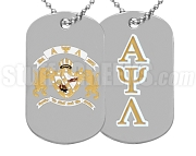 Alpha Psi Lambda Greek Letter Dog Tag with Crest, Silver