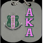 Alpha Kappa Alpha Dog Tags, Silver