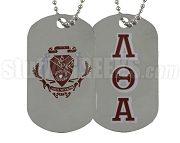 Lambda Theta Alpha Greek Letter Dog Tag with Crest