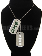 Psi Chi Omega Double Dog Tag - Double with Founding Year