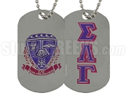 Sigma Lambda Gamma Greek Letter Dog Tag with Crest