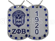 Zeta Phi Beta Double Sided Bling Dog Tag with Founding Year