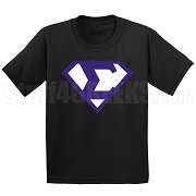 Phi Beta Sigma Screen Printed T-Shirt with Greek Letter Inside Superman Shield, Black