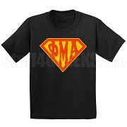 Phi Mu Alpha Screen Printed T-Shirt with Greek Letters Inside Superman Shield, Black