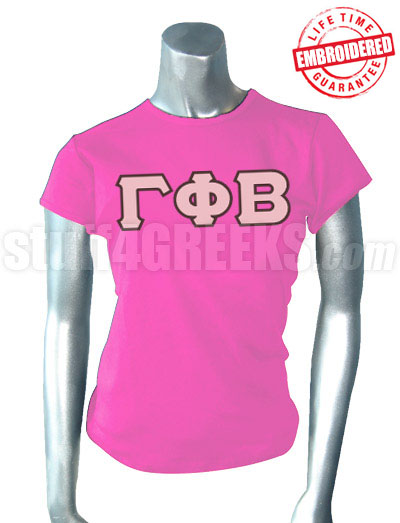 gamma phi beta t shirt with greek letters hot pink embroidered with lifetime guarantee