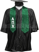 Alpha Pi Chi Satin Graduation Stole with Greek Letters, Green