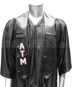 Alpha Tau Mu Satin Graduation Stole with Greek Letters, Black