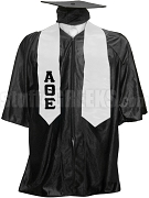 Alpha Theta Epsilon Satin Graduation Stole with Greek Letters, White