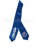 Alpha Zeta Omega Satin Graduation Stole with Greek Letters and Crest, Royal Blue