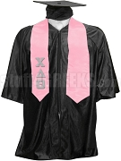 Chi Delta Theta Satin Graduation Stole with Greek Letters, Pink