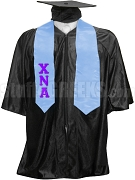 Chi Nu Alpha Satin Graduation Stole with Greek Letters, Light Blue