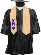 Chi Omega Psi Satin Graduation Stole with Greek Letters, Orange