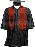 Chi Phi Sigma Satin Graduation Stole with Greek Letters, Red