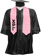 Chi Rho Gamma Satin Graduation Stole with Greek Letters, Pink