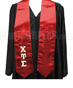 Chi Upsilon Sigma Satin Graduation Stole with Greek Letters, Red