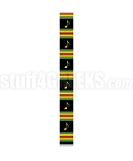 101 Inch Kente Choir Stole with Music Notes, Black