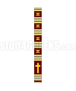 Kente Clergy Stole with Cross, Burgundy/Gold/White