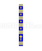 Kente Clergy Stole with Cross, Royal Blue/Gold/White