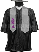 Delta Kappa Delta Satin Graduation Stole with Greek Letters, Silver