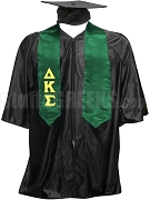 Delta Kappa Sigma Satin Graduation Stole with Greek Letters, Forest Green