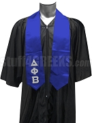 Delta Phi Beta Satin Graduation Stole with Greek Letters, Royal Blue