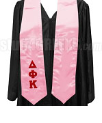 Delta Phi Kappa Satin Graduation Stole with Greek Letters, Pink