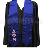 Delta Phi Mu Satin Graduation Stole with Greek Letters, Royal Blue