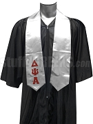 Delta Psi Alpha Satin Graduation Stole with Greek Letters, Silver