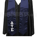 Delta Tau Sigma Satin Graduation Stole with Greek Letters, Navy Blue