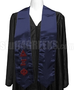 Delta Xi Phi Satin Graduation Stole with Greek Letters, Navy Blue