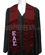 Epsilon Alpha Sigma Satin Graduation Stole with Greek Letters, Maroon