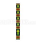 Fancy Kente Clergy Stole with Cross, Black/Green/Blue