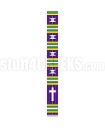 Fancy Kente Clergy Stole with Cross, Purple/Green