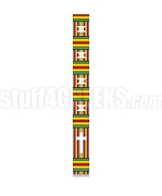 Fancy Kente Clergy Stole with Cross, Red/Green/Gold