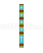 Fancy Kente Clergy Stole with Cross, Turquoise