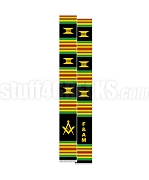 Free & Accepted Mason Kente Graduation Stole with Square & Compass, Black/Red/Green/Gold