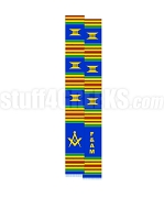 Free & Accepted Mason Kente Graduation Stole with Square & Compass, Blue/Red