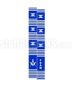 Free & Accepted Mason Kente Graduation Stole with Square & Compass, Royal Blue/White