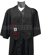 Gamma Beta Chi Satin Graduation Stole with Greek Letters, Black