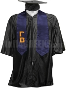 Gamma Beta Satin Graduation Stole with Greek Letters, Navy Blue
