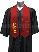 Gamma Epsilon Omega Satin Graduation Stole with Greek Letters, Red