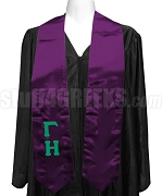 Gamma Eta Satin Graduation Stole with Greek Letters, Purple