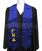 Gamma Nu Delta Satin Graduation Stole with Greek Letters, Royal Blue