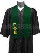 Gamma Phi Epsilon Satin Graduation Stole with Greek Letters, Forest Green
