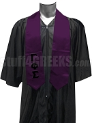 Gamma Phi Sigma Satin Graduation Stole with Greek Letters, Purple
